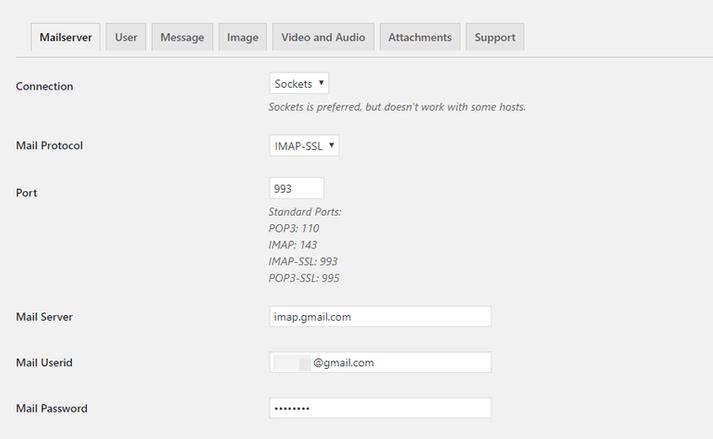 configure postie settings